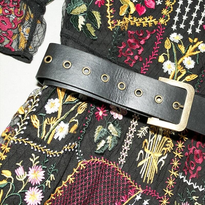Robes 2018 Femmes Vintage D'été Noir Conception Cou Qualité Maille Haute Empire Broderie Robe Piste Midi V Ceinture Floral qBSEnB