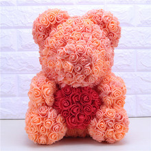 Creative 40cm with Heart Big Red Teddi Bear Foam Rose Flowers Artificial Decoration Christmas Gifts for Women Valentines Gift