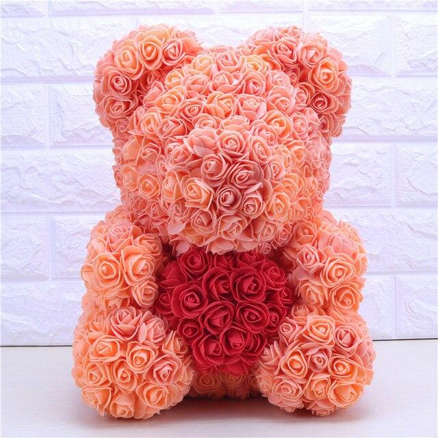 Kreative 40 cm mit Herz Großen Roten Teddi Bär Schaum Rose Blumen Künstliche Dekoration Weihnachten Geschenke für Frauen Valentines Geschenk