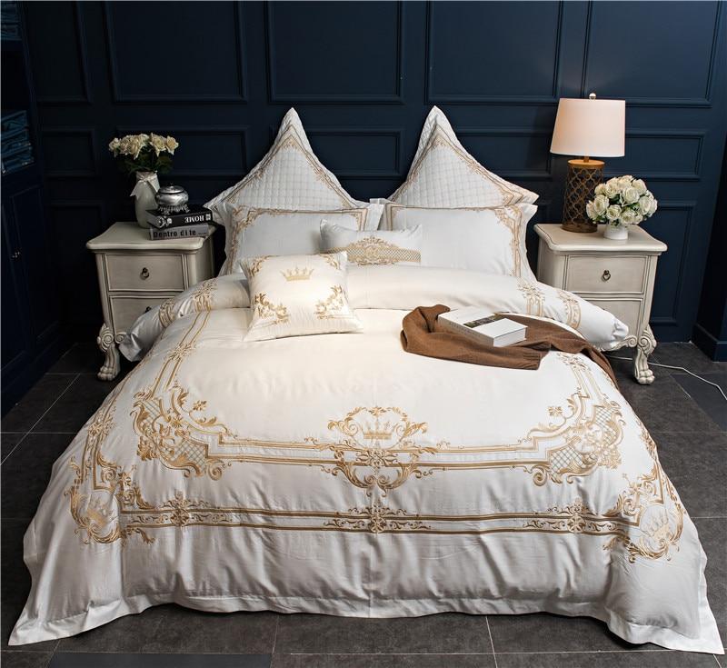 Rouge Blanc En Coton Égyptien De Luxe De Mariage ensemble de Literie Roi Reine Taille Oriental Broderie housse de Couette lit ensemble de draps Taies D'oreiller