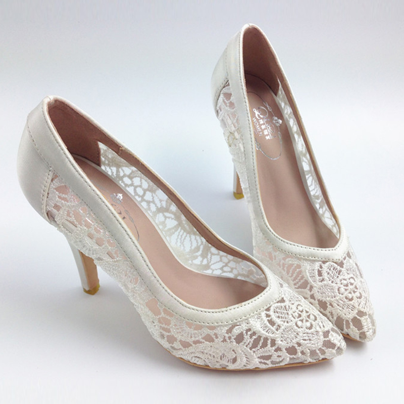 цены 2017 Women Cutout Satin Fabric High Heels Sexy Lace Wedding Shoes Shallow Mouth Pointed Toe Genuine Leather Bride Pumps