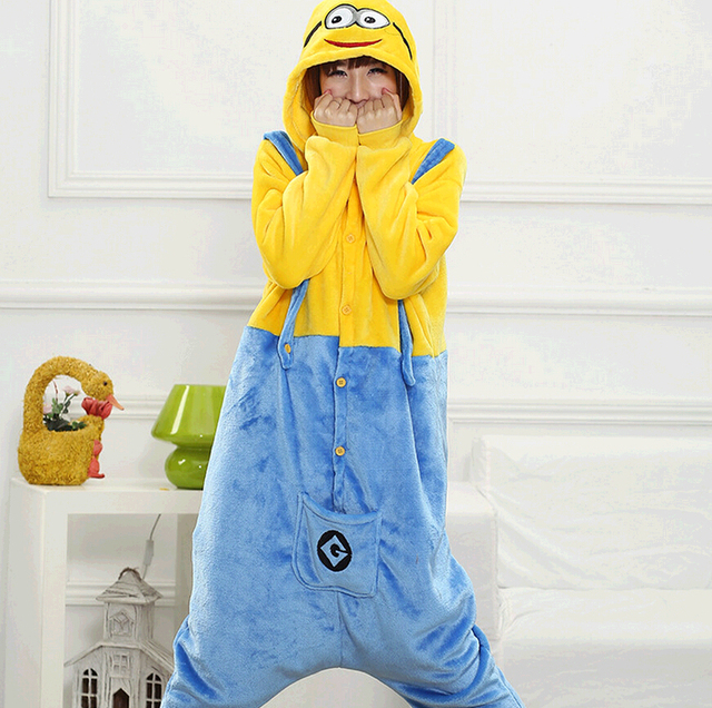 425c977ab731b7 US $18.53 31% OFF|Kigurumi Minions Onesie Pajamas Hoodie Pyjamas Adult  Minion Onesie Sleepwear Cosplay Costume Jumpsuit Suit-in Anime Costumes  from ...