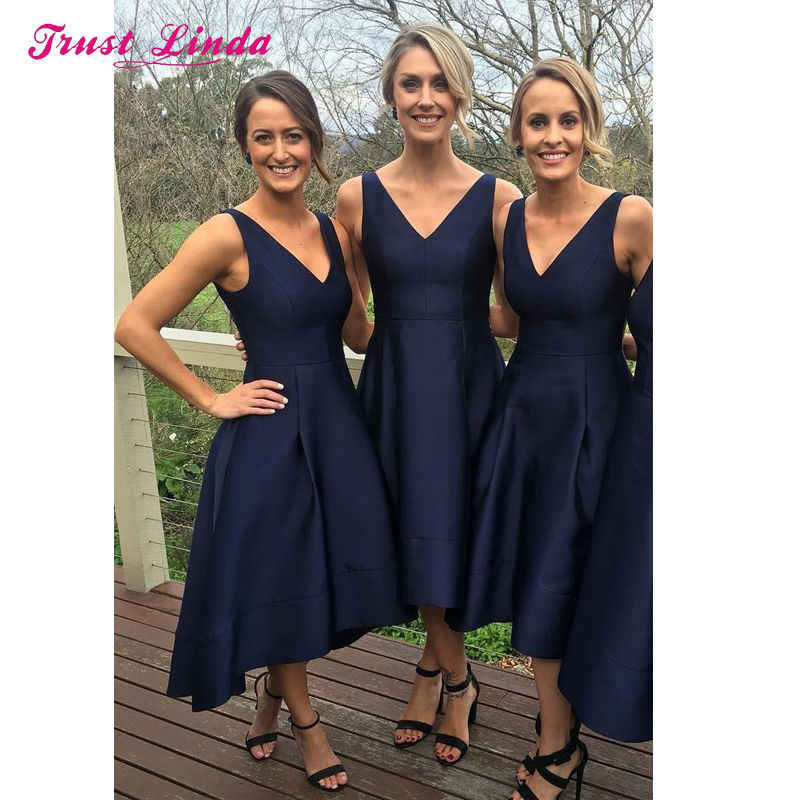 ... 2018 New Bridesmaid Dresses Blue V Neckline Stain Elegant Navy Blue Bridesmaid  Dresses High Low Wedding ... b9186850eb72