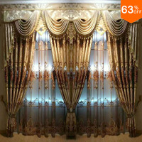 2017 living room velvet Embroid eyelet drape extreme Luxury Baroco hollowout Baroco style hierarch drapery design window 2.5 M