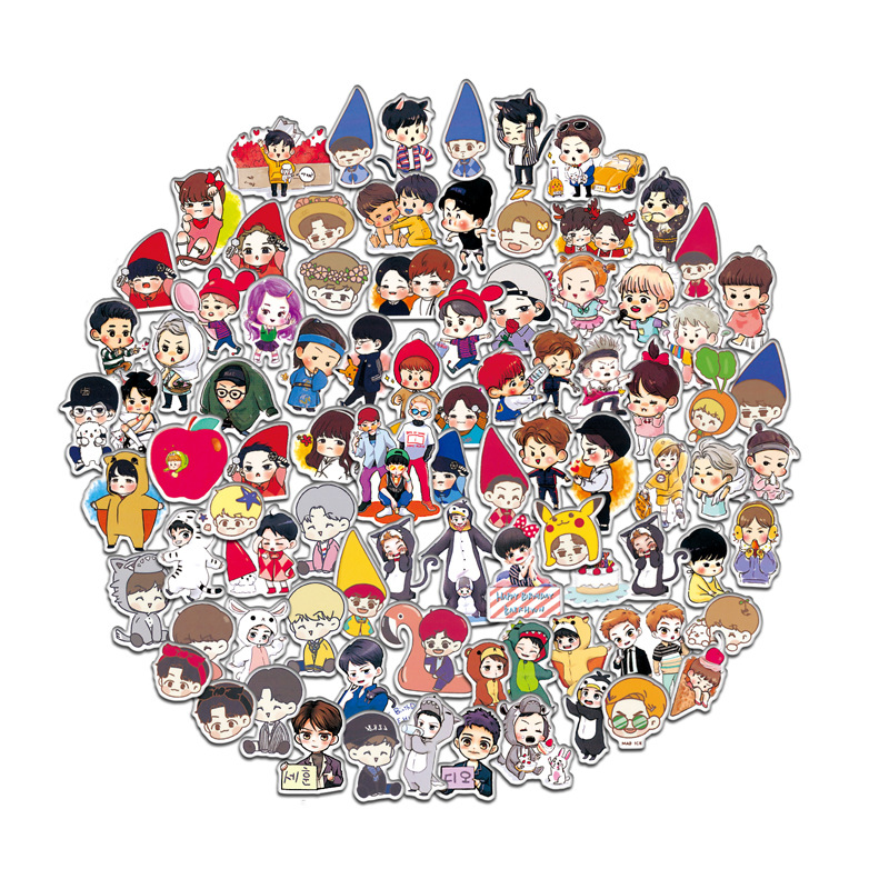 Classic Toys Td Zw 60pcs 100pcs Cartoon Exo Stickers Cartoon Handpaint Q Version Stickers Decal For Snowboard Luggage Fridge Laptop Sticker Relieving Heat And Sunstroke Stickers