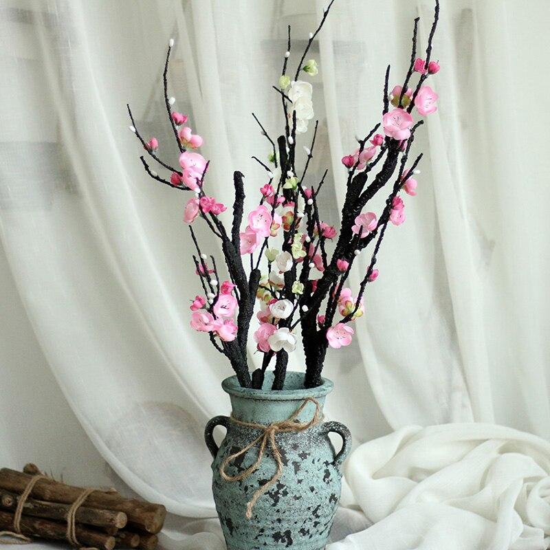 인공 꽃 매화 꽃 인공 식물 나뭇 가지 가정용 실크 꽃