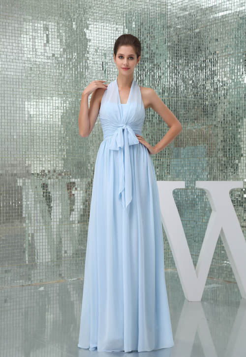 Elegant Light Blue Chiffon Long   Bridesmaid     Dresses   Sexy Backless Halter Wedding Party   Dresses   Robe Demoiselle D'honneur