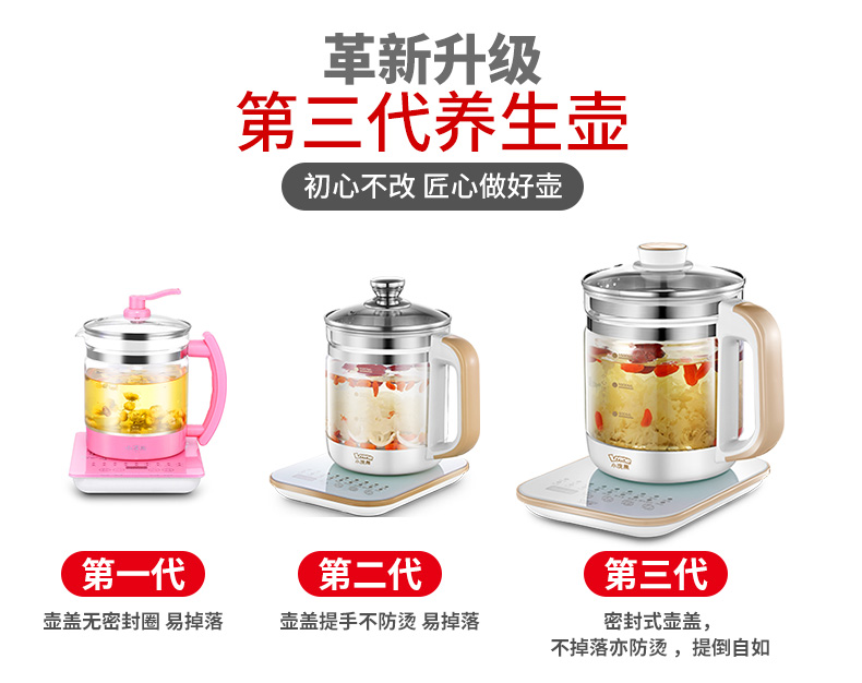 Kettle Health Pot Office Multifunctional Automatic Thickening Glass Home Health Pot Bouilloire Electrique  Electric Tea Maker 1