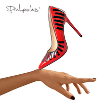 Pink Palms Autumn Women High Heels Shoes Red Classic Pointed Toe Narrow Band Decoration Wedding Party