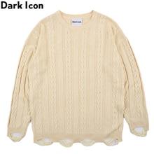 Dark Icon Twist Tassels Hemline High Street Fashion Sweaters Men Round Neck Solid Color Pullover Mens Sweater