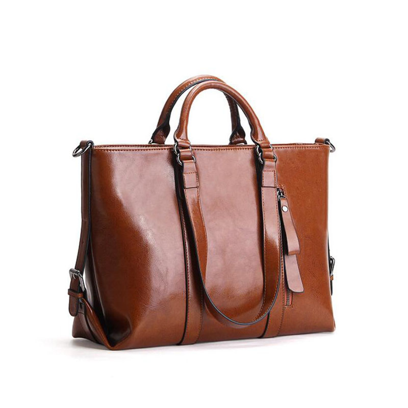3bac805bf LOMANTINA Ladies Office Business Bag Winter Autumn Fashion Women's Handbag  Oil Wax Leather Bags Female Large Tote -in Top-Handle Bags from Luggage &  Bags on ...