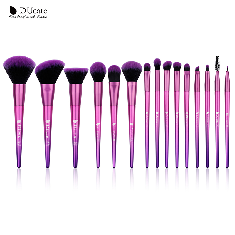 DUcare Makeup Brushes 15PCS Brushes for Makeup Eyeshadow Foundation Powder Blush Eyebrow Brush Make Up Brush Set Cosmetic Tools silver professional foundation brush fish scale makeup brushes pro foundation powder blush contour brush fishtail cosmetic tool