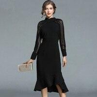 Women Luxury Party Black Dress 2019 Autumn Runway Mesh Patchwork Long Sleeve Mermaid Dresses