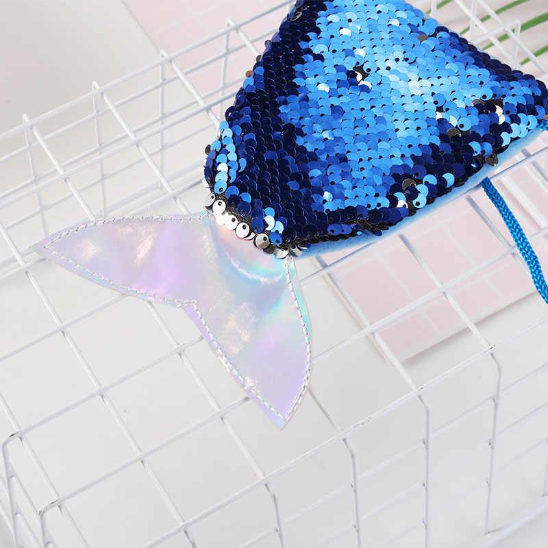 Хвост русалки блесток талреп депозит кошелек детская Длинная веревка Диагональ хранения монет мешок детских игрушек
