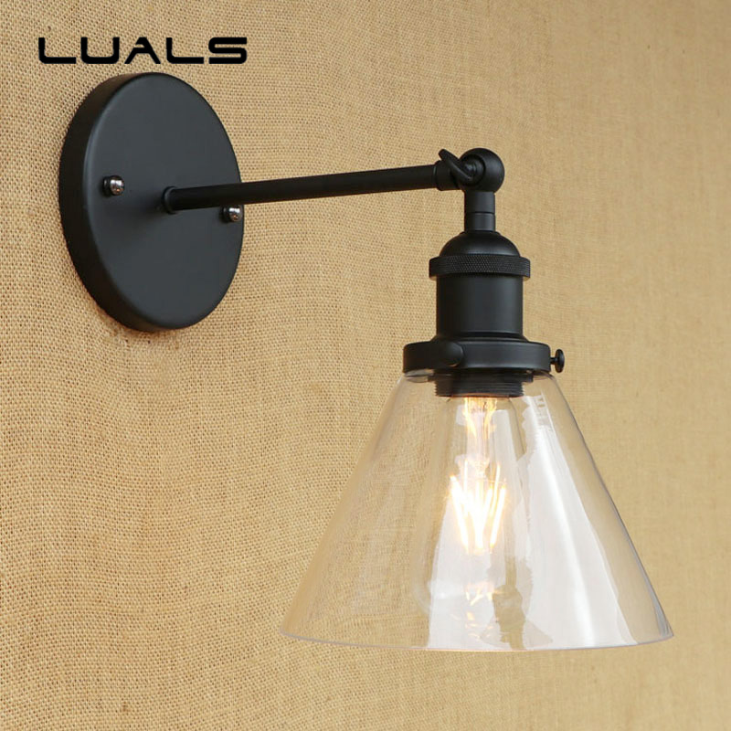 American Style Rural Vintage Wall Light Simple Transparent Glass Lampshade Wall Lamp Cafe Bar Restaurant Art Deco Lighting american style retro desk light wooden base led lamp cafe bar table lamps bedroom industrial water pipes art deco lighting