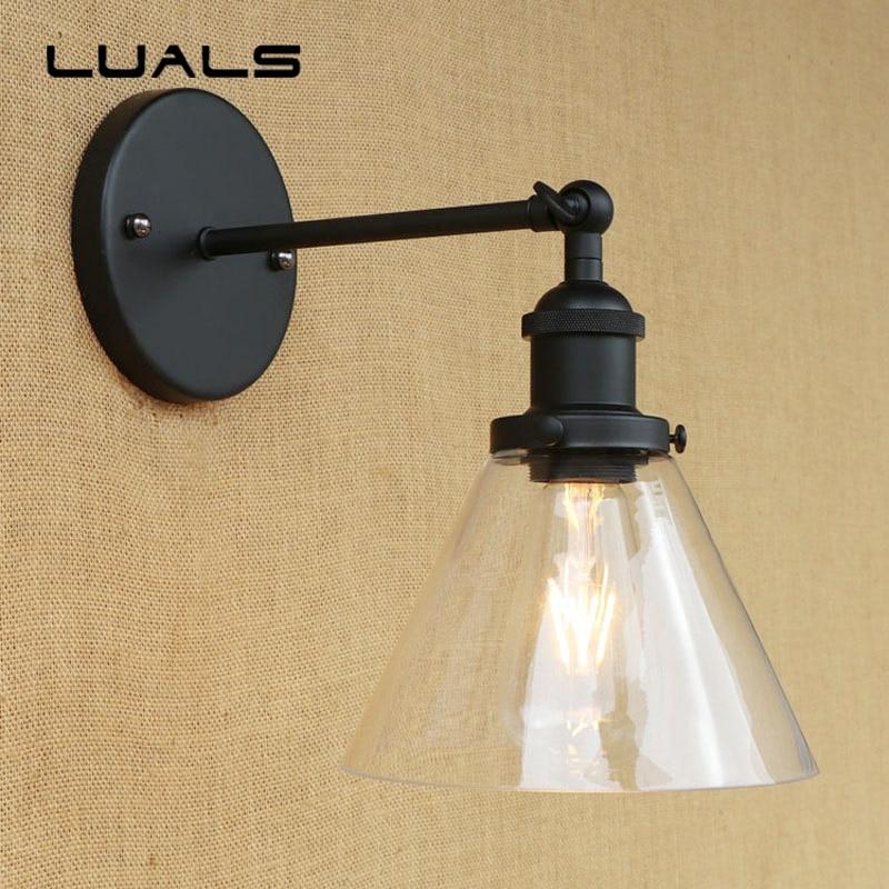 где купить American Style Rural Vintage Wall Light Simple Transparent Glass Lampshade Wall Lamp Cafe Bar Restaurant Art Deco Lighting дешево