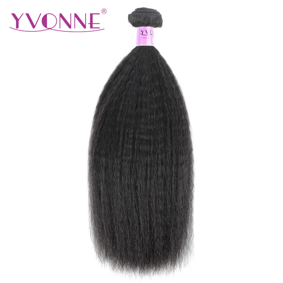 Yvonne Kinky Straight Brazilian Virgin Hair 1 Piece Natural Color 100 Human Hair Weaving Free shipping