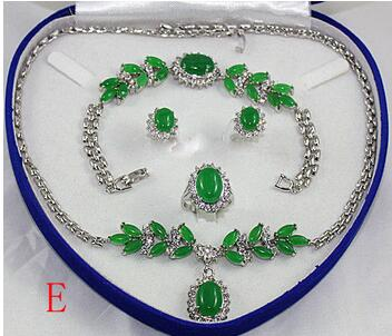 Hot sell -Nobility bridal Womans Noble Natural green jade stone necklace bracelet earrings ring set 18KGPHot sell -Nobility bridal Womans Noble Natural green jade stone necklace bracelet earrings ring set 18KGP