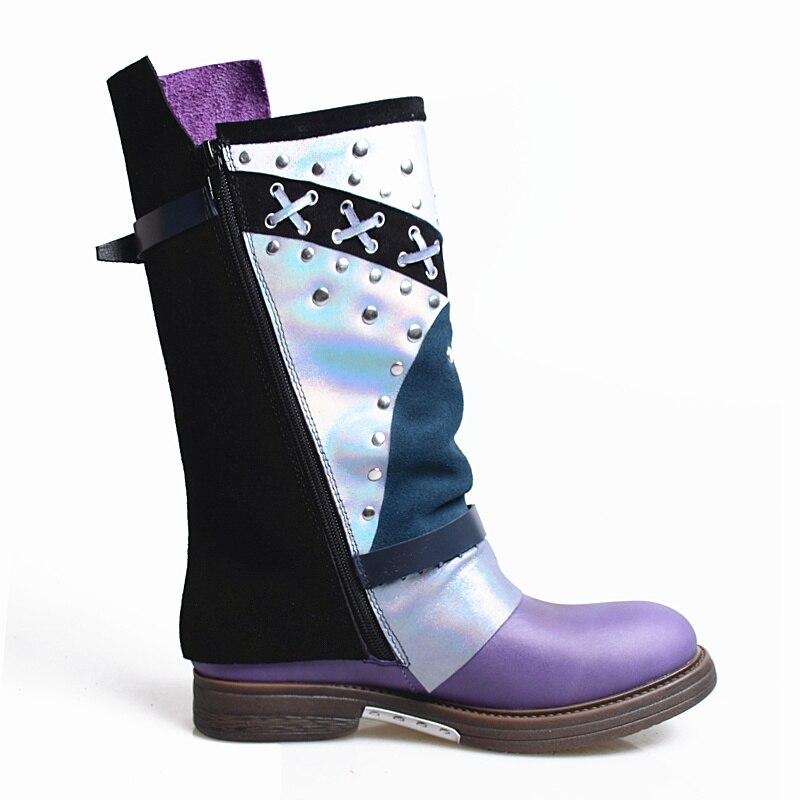 Botas Motocicleta De Fondo Media Falt Pantorrilla Marca Purple Diseñador Suave Moda Damas Prova Grueso Perfetto Mujeres Real Para Cuero XYPwv