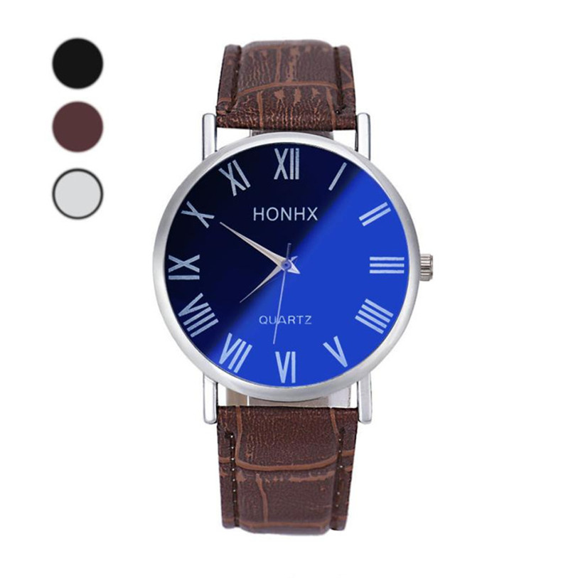 Hot 2017 New Superior Luxury Fashion Men Leather Quartz Analog Wrist Watch Blu-ray Mirror Relojes de Hombre clock Gift Dropship