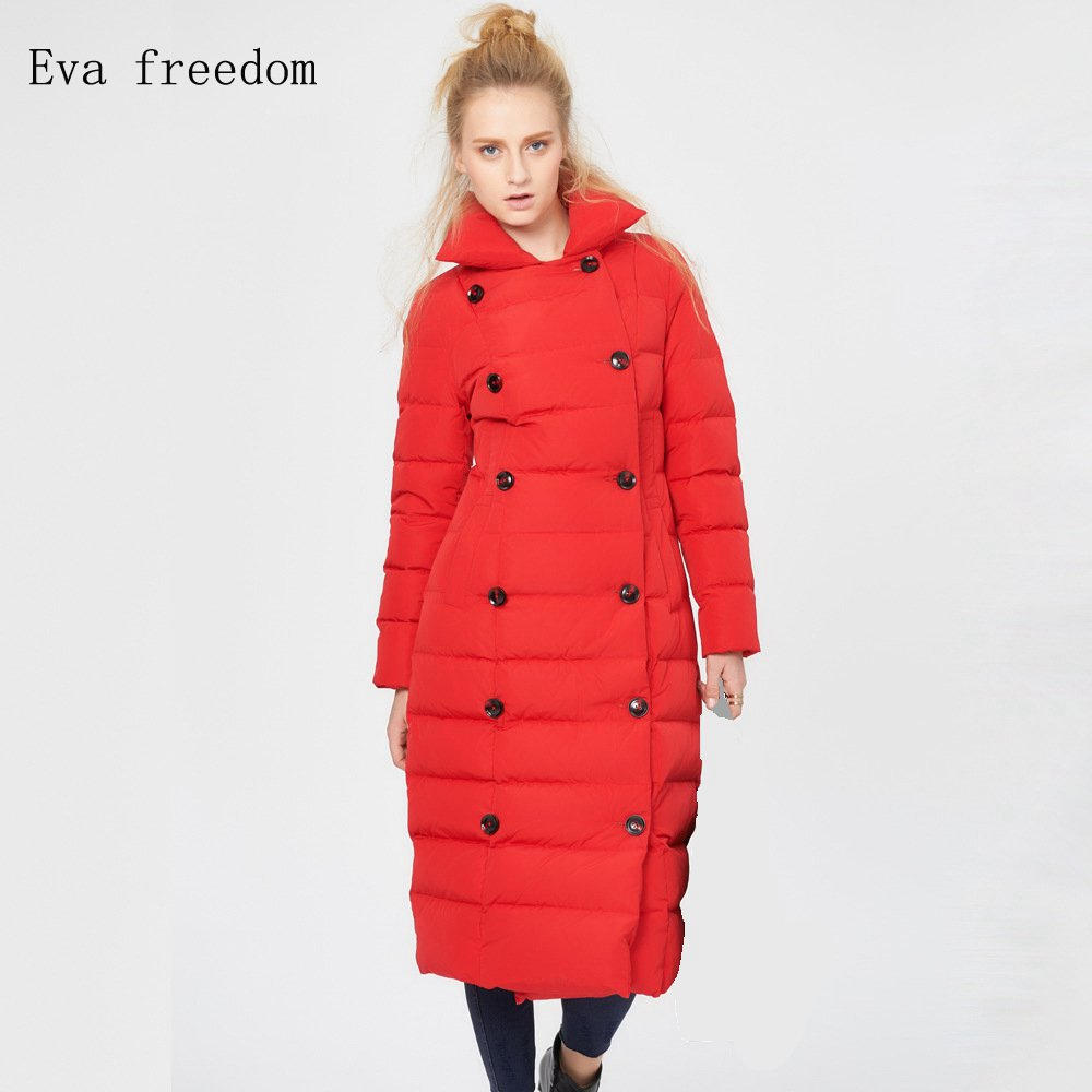 Eva freedom Winter new arrival Double-breasted long women   down   Jacket gules winter thickening keep warm   down     coat   for women