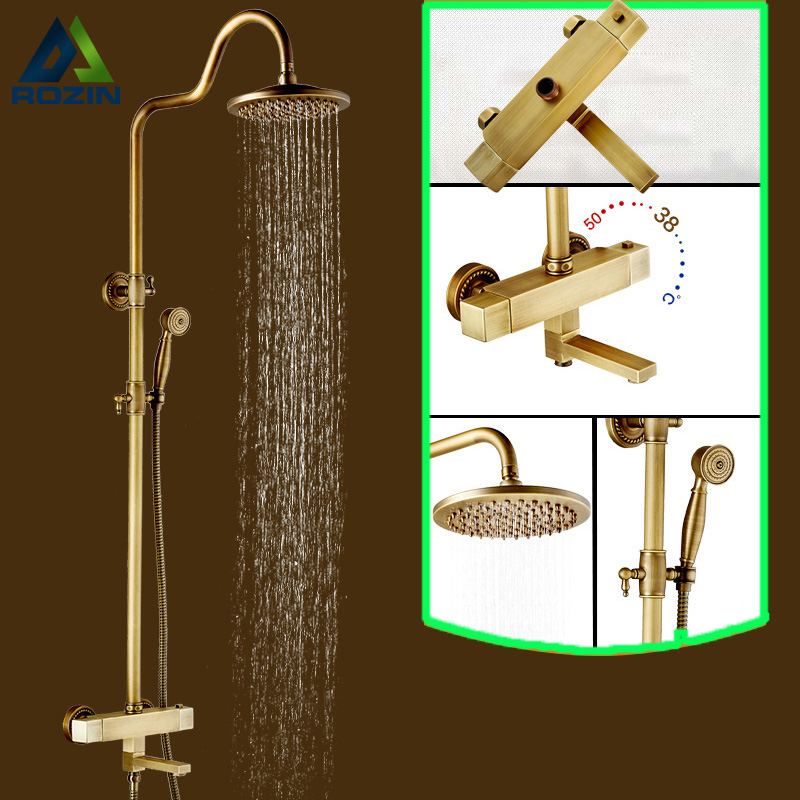 Luxury 8 Rainfall Temperature Control Thermostatic Bath Shower Faucet Set Wall Mount Rotate Tub Taps Shower Mixers