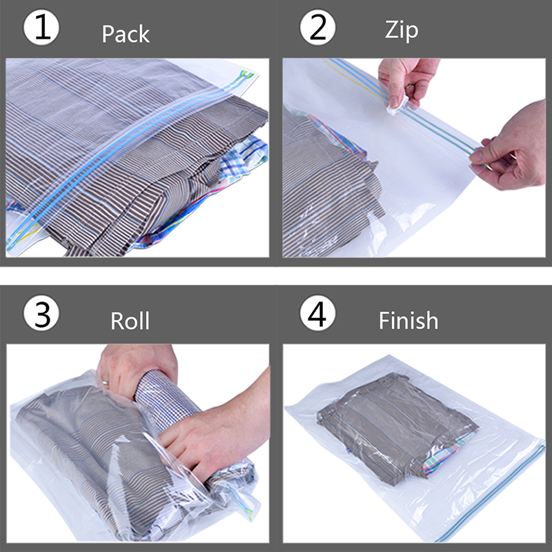 bf8e3bb7b1c4 US $12.74 28% OFF| 10pcs Space Saver Bags No Vacuum Needed Use Without Air  Pump Travel Compress Vacuum Roll Up Storage Bag-in Storage Bags from Home &  ...