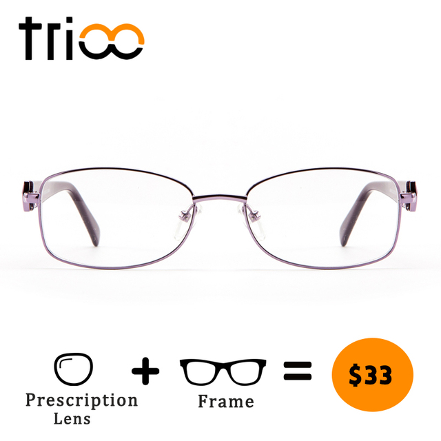 4e2aaf2d32 TRIOO Luxury Diamond Design Minus Glasses Women Metal Clear Reading Eyeglasses  Oval Purple Prescription Spectacles Optical