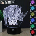 HY Animals Rhino 3D Remote LED Night Light Touch Table Desk Lamp 7 Color Change USB LED Charger Gift Multifunction Card