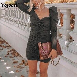 Image 2 - Yojoceli 2018 סקסי ארוך שרוול bodycon תחרה עד שמלת נשים בציר רויאל כיכר צוואר מיני שמלת מסיבת מועדון פי אלסטי שמלה