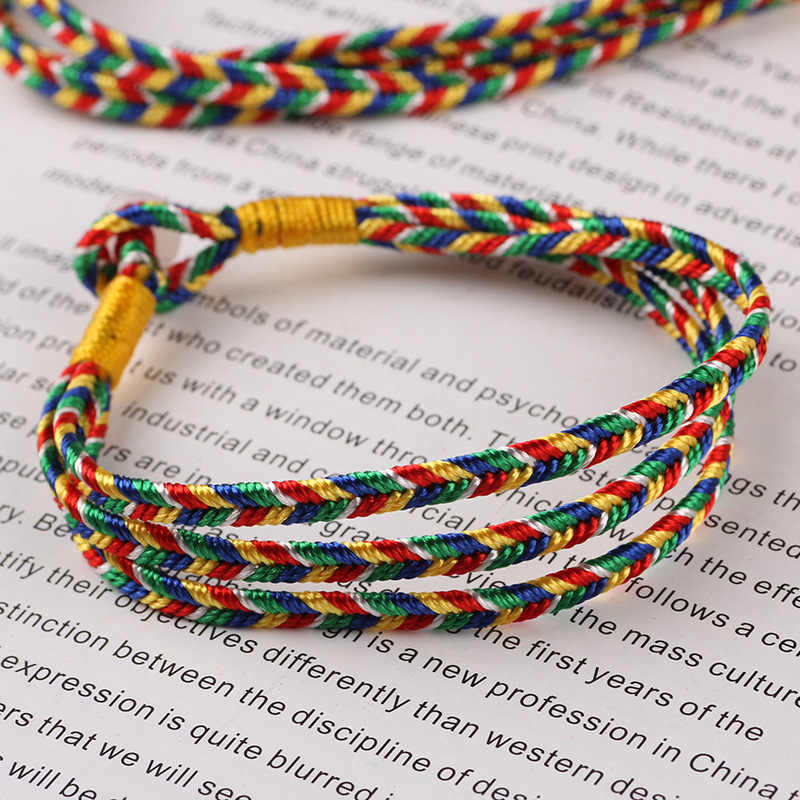 7f76b07e60 ... Ethnic Red Rope Hand Chain Color Three Rope Tibetan Knot Fine Five  Color Rope Rainbow Lucky ...