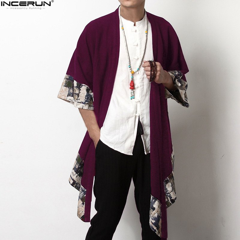 INCERUN 2019 Plus Size Men Long Outwear Shirts Chinese Style Vintage Half Sleeve