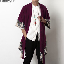 2018 Plus Size Men Fashion Long Outwear Shirts Chinese Style Vintage Half Sleeve Irregular Male Trench Stylish Casual Cloak Coat cheap Stand Cotton Open Stitch Patchwork Standard INCERUN Broadcloth Spliced Loose Conventional Men s Fashion Trench None Autumn Spring