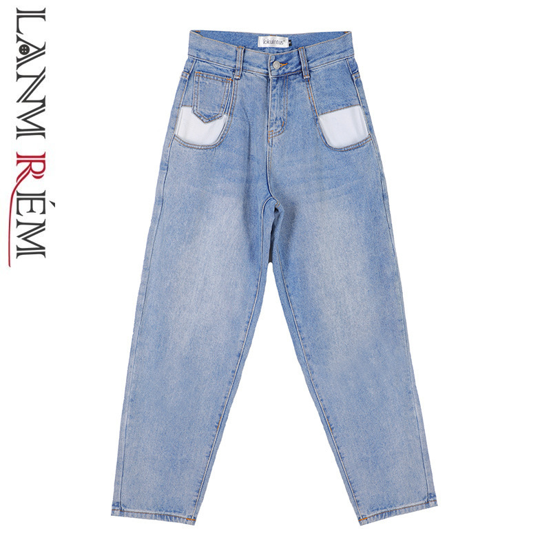 LANMREM 2019 Spring New Straight   Jeans   For Women High Waist Vintage Blue Trousers Fashion Comfortable Ladies Pants QF29105