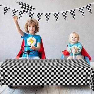 Черно-белая клетчатая скатерть, чехол для стола, флаг, Гоночная машина, Спортивная тематическая вечеринка на день рождения, детский душ, укр...