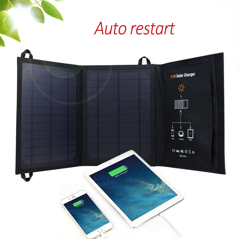 5V 11W Monocrystalline Solar Panel Solar Battery Charger for iOS Android Phone Tablet MP3 Player Dual USB Ports Solar Cell