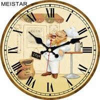 MEISTAR модные настенные часы рисунок Кук дизайн бесшумный Прочный Кухня Офис гостиная декоративное искусство настенные часы