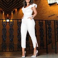New Fashion Women Ruffles Neck High Waist Clubwear Jumpsuit Playsuit Bandage Fem