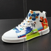 CuddlyIIPanda 2019 Men Fashion Hip Hop Shoes Male Leather Graffiti Chines Style High Top Personality Lace Up Sneakers Men Shoes