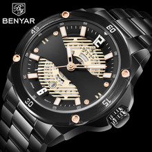 лучшая цена NEW BENYAR Men's Watches Top Brand Luxury Quartz Watch Men Business/Gold Watches Stainless Steel Male Clock Erkek Kol Saati+Box