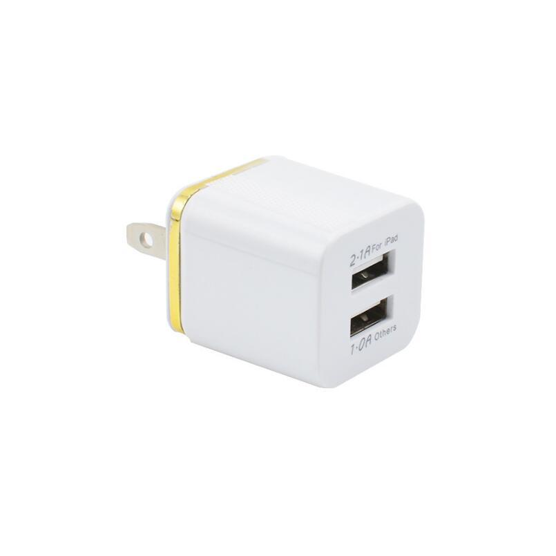 Оптовая Продажа Красочные 2A + 1A США Подключите адаптер переменного тока Главная Путешествия стены 2 порта Dual USB зарядное устройство для сото…