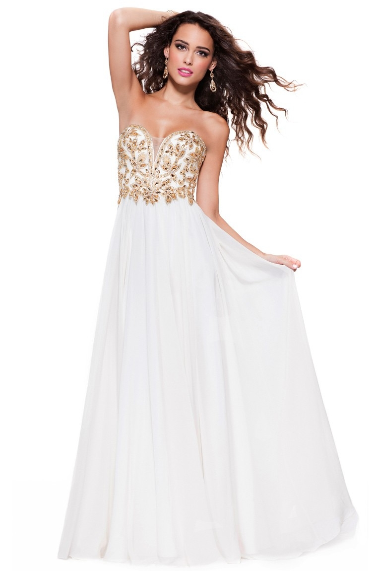 Popular White and Gold Long Prom Dress-Buy Cheap White and Gold ...