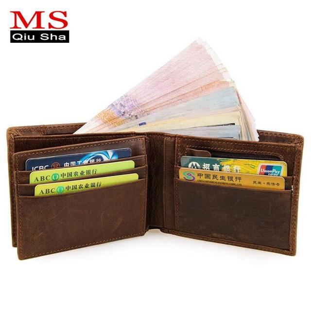 bdfcd81797cf MS.QIUSHA Short Genuine leather Men Wallet Credit Card Holder Coin Wallet  High Quality Designer Handy Clutch Brand Vintage Purse