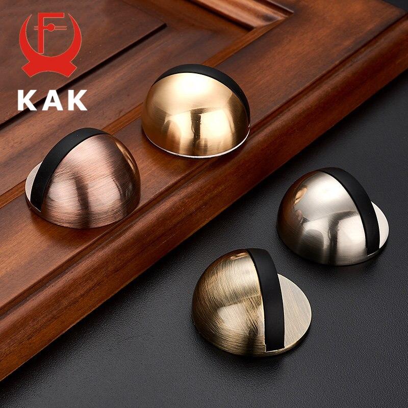 KAK Zinc Alloy Rubbe Door Stopper Non Punching Sticker Hidden Door Holders Catch Floor Mounted Nail-free Door stop Door Hardware