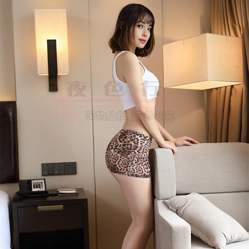 Sexy Women Ice Silk Leopard Micro Mini Skirt Tight Pencil Skirts Transparent Skirt Night Club Fantasy Erotic Wear F8