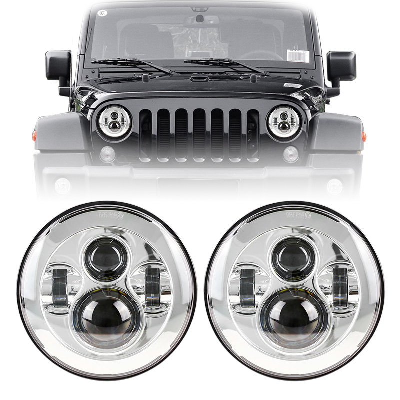 1 Pair Chrome 40W LED Work Light Off Road 7 LED Headlamp Projector light for Lada 4x4 urban Niva Land Rover Defender Jeep JK