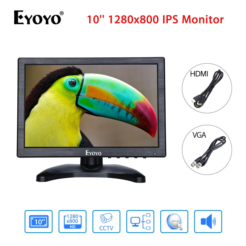 EYOYO H1016 LED Highlight Monitor 10'' IPS FHD Display 1280x800 VGA BNC USB Video Audio AV HDMl Black For CCTV DVD DVR Camera
