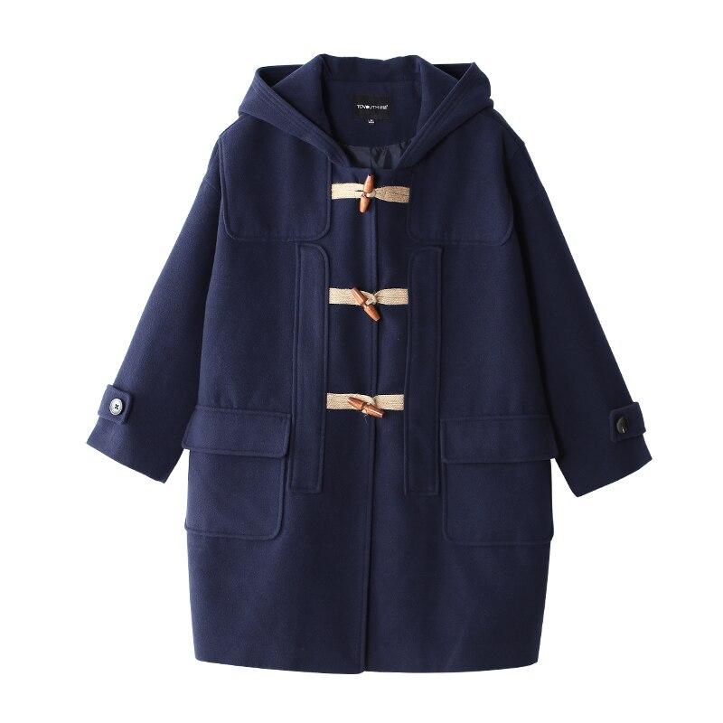 Blue Toyouth Mode À Manteau De Laine Britannique Couleur Bouton Capuchon Navy 2017 Pardessus Corne Solide Femmes Automne Style wfTwq