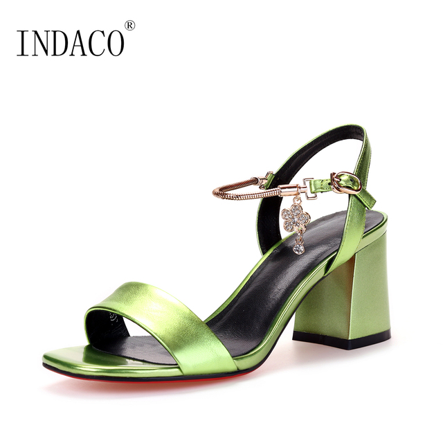 1e0af0d5d7 2018 New Ankle Strap Metal Cowhide Leather Sandals Rhinestone Sexy Summer  Shoes 6.5cm