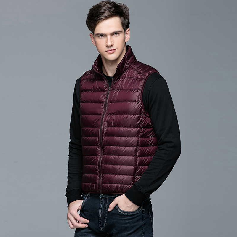 2020 冬のファッションブランド超軽量ノースリーブアヒルダウンジャケット男性ベストストリート羽コート Packable 暖かい男性服